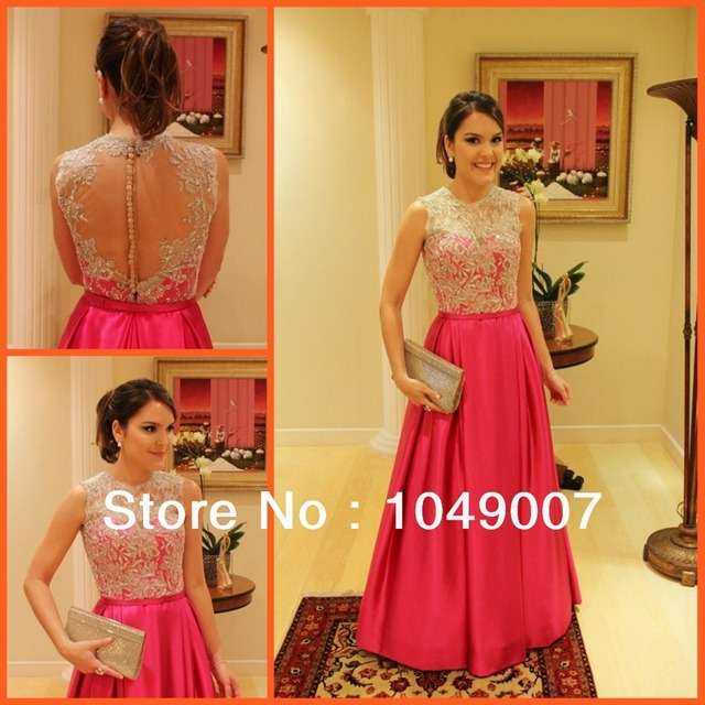 Real Sample Hot Pink Crystal Sheer Bridesmaid Dresses Long