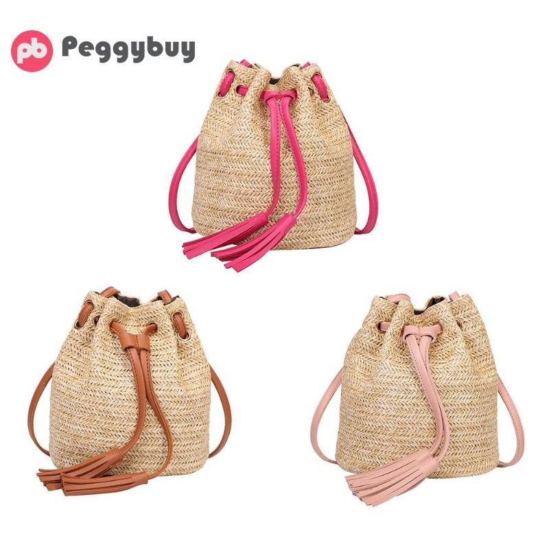 Casual Mini Beach Crossbody Shoulder Bags Women Straw Weave Tassel Handbags beige tassel detail straw shoulder bags