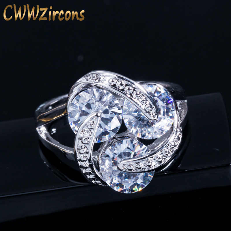 CWWZircons อินเทรนด์สีขาวทองสี Revolving Cubic Zirconia Big กะรัตแหวนหมั้นสำหรับผู้หญิง 2018 R078
