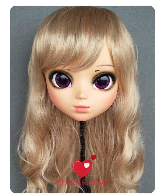 (DM157) Lovely Sweet Girl Resin Half Head Kigurumi Mask With BJD Eyes Cosplay Japanese Anime Role Lolita Mask Crossdress Doll