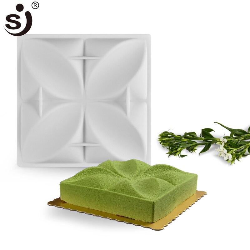 SJ Fleur Gâteau Moules Carré Mousse Non-Bâton Alimentaire de Cuisson En Silicone 3D Gâteau Muffin Maker Au Four Gâteau Boutique accessoires
