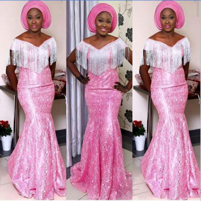 Aso Ebi Pink Mermaid Prom Gowns South Africa Nigeria V Neck Lace Evening  Gowns Plus Size Floor Length Formal Party Dress Vestido be54e9ce1335
