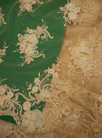 50 yards Champagne high quality cord bridal lace fabric, High end alencon tulle mesh embroidered wedding lace