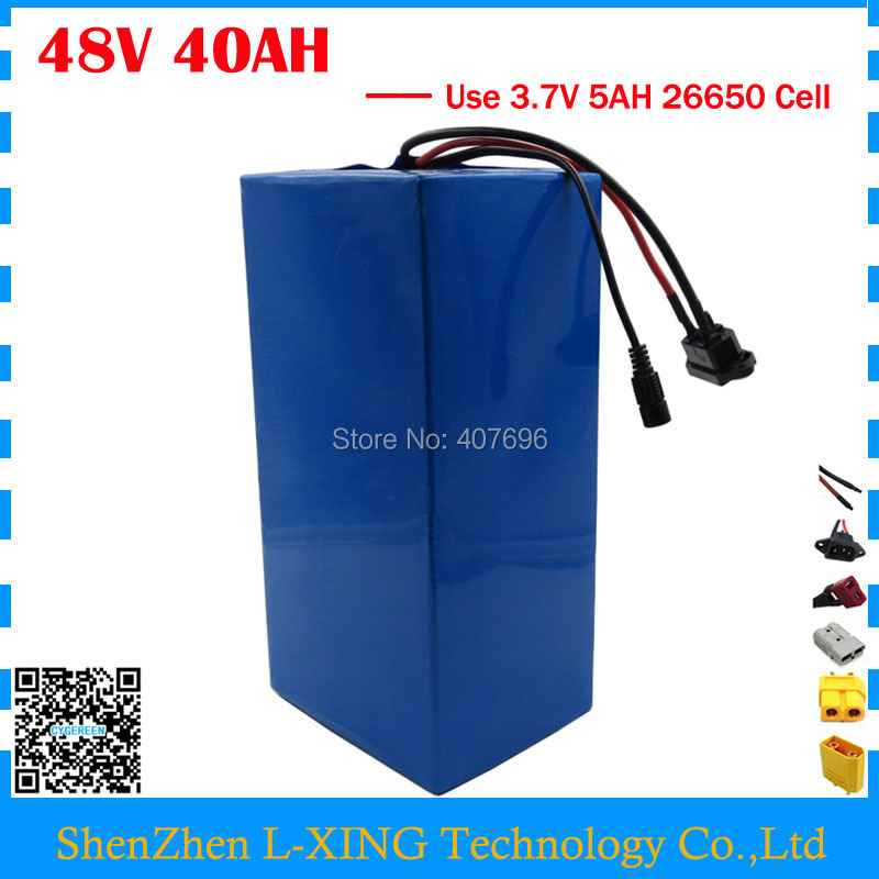 Free customs duty 2000W 48V Li-ion Bike battery 48V 40AH Scooter battery use 3.7V 5AH 26650 cell 50A BMS with 54.6V 4A Charger free customs fee 1000w 36v 17 5ah battery pack 36 v lithium ion battery 18ah use samsung 3500mah cell 30a bms with 2a charger