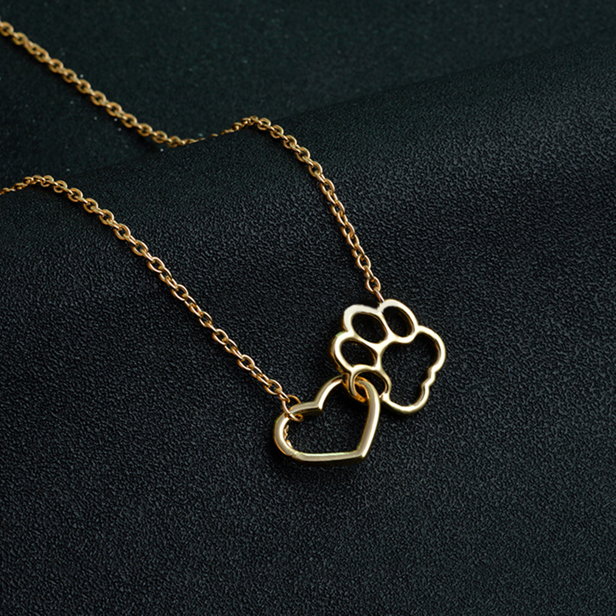 Cat Paw Print Love Heart Necklace