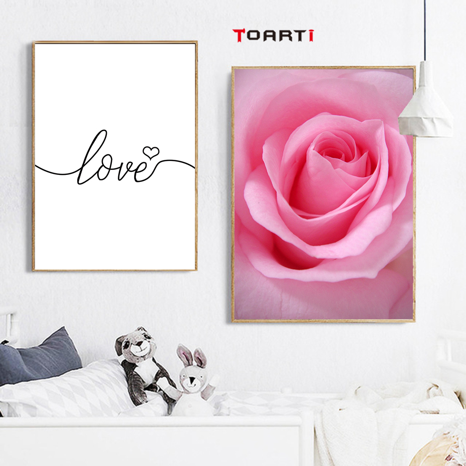 minimalism letter love quote wall art poster and print nordic pink flower heart canvas painting picture bed room home wall decor in Painting Calligraphy from Home Garden