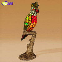 FUMAT Parrot Table Lamp European style Stained glass Decor Lamp Bedside Living Room Study Stand Lights Bird Table Lamps