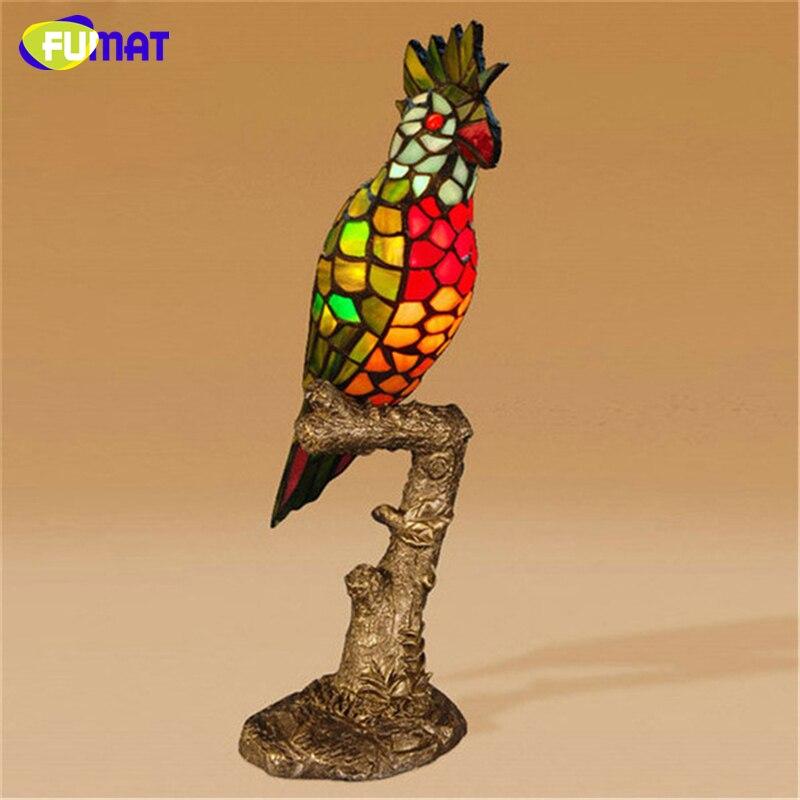 FUMAT perroquet lampe de Table style européen vitrail décor lampe chevet salon étude Stand lumières oiseau lampes de Table