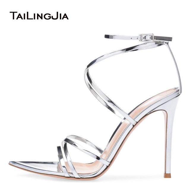 3b0a66bae320 Women Open Toe High Heel Sandals with Straps Sexy Strappy Dress Shoes  Pointy Bottom Heels Ladies Stiletto Heel Summer Shoes 2018