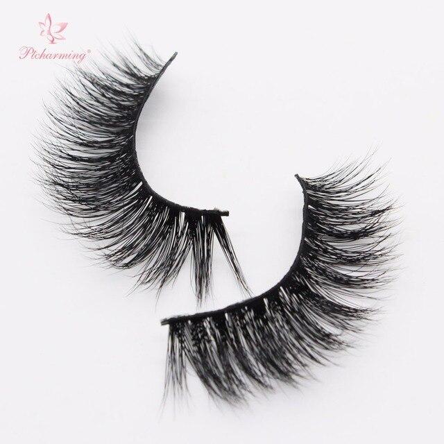 3dcbcbc1065 Ptcharming Handmade 100% 3D Real Siberian Mink False Eyelash Individual  Eyelashes Extension Faux Lashes-PTAME-A06