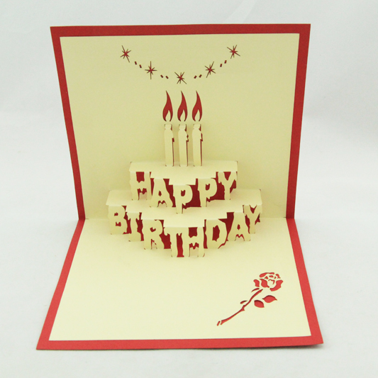Birthday cake pop up card/3D  kirigami birthday card/ handmade greeting cards  Free shipping carousel horse pop up card 3d greeting card handmade kirigami card free shipping