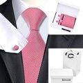 HN-1083 Красный Белый Новинка Галстук Hanky Запонки Подарочная коробка сумка Устанавливает мужская 100% Шелковые Галстуки Для Мужчин Свадьба Партии жених