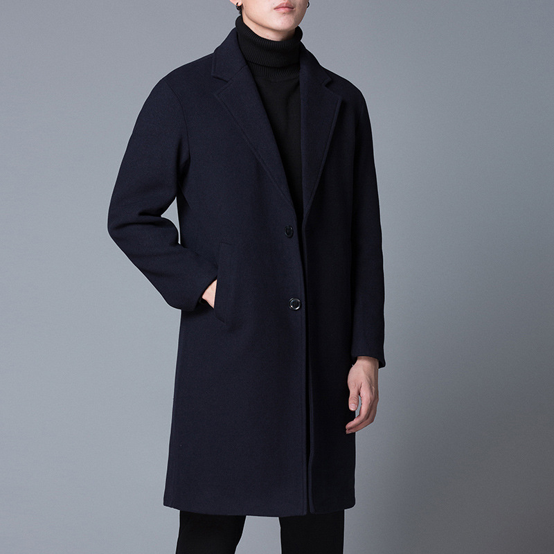 Wool Coat Jacket Winter Fashion Casual Single-Breasted Warm Slim And Solid Long