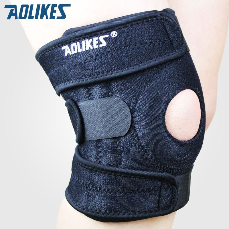 New 1 piece Mountaineering knee pad with 4 springs support cycling knee protector Mountain Bike Sports Safety kneepad brace-B201