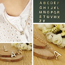 Gold plate Initial chain Necklaces Women Alphabet 26 Letters A-Z Pendant Necklace Fashion Necklace Stylist femme Gift