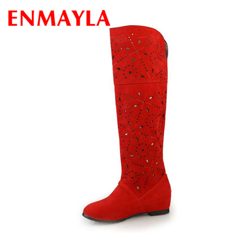 ФОТО ENMAYLA New Style Snow Boots Size 43 Fashion Women Knee High Boots for Shoes Ladies Platform Warm Fur Winter Shoes Boots Sale