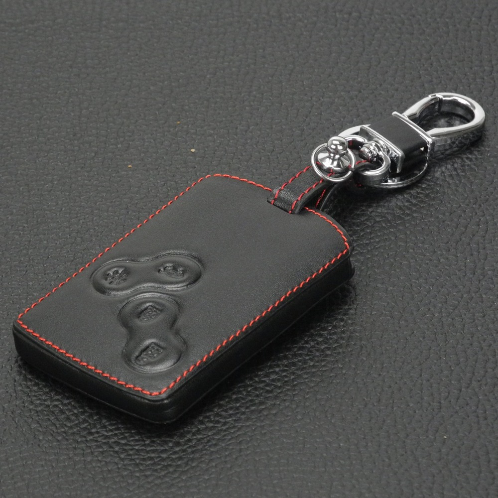 Image 3 - jingyuqin Leather Keychain Key Case Holder for Renault Clio Scenic Megane Duster Sandero Captur Twingo Koleos protector Cover-in Key Case for Car from Automobiles & Motorcycles