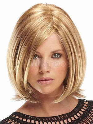 ****^^ New Sexy Women's Short Mix Blonde Natural Hair wig Male Man Queen Fiber no lace Front hair Wigs