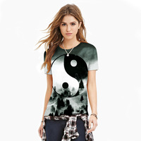 New Short Sleeve T Shirt Clothes For Women Men Top Forest Taichi Yin Yang Symbol Printed