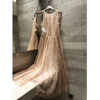 2019 summer long dress mesh bohemian elegant beach dress ladies Mesh dress silk lining