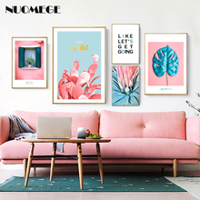 Scandinavian Style Pink Wall Art Red Cactus Posters and Prints Turtle Leaf Decorative Pictures for Living Room Home Decor