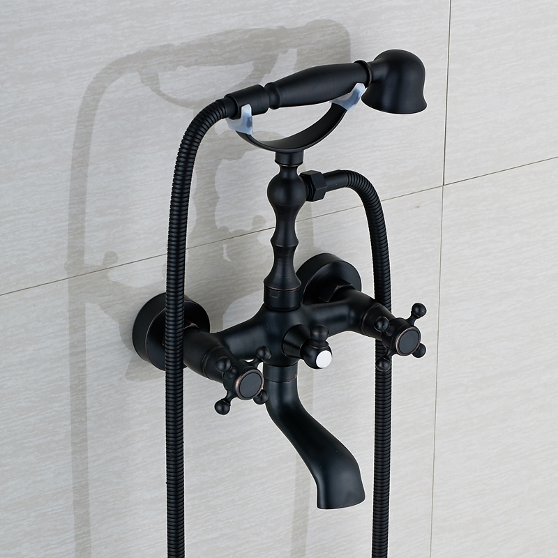Oil Rubbed Bronze Wall Mount Bathtub Faucet Dual Handles Swivel ...