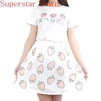 Kawaii Harajuku Strawberry Printing Lolita Sweet Girls T Shirt Skirt Summer Set School Girls Cute Uniform