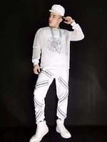 Новая мужская спортивная одежда комплект из 3 предметов толстовки певец из ночного клуба DJ хип хоп буквы марлевые спортивные костюмы