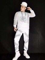 Новый мужской спортивной одежды 3 предмета в комплекте комплект кофты ночной клуб певец DJ хип хоп буквы марлевые спортивный костюм костюмы