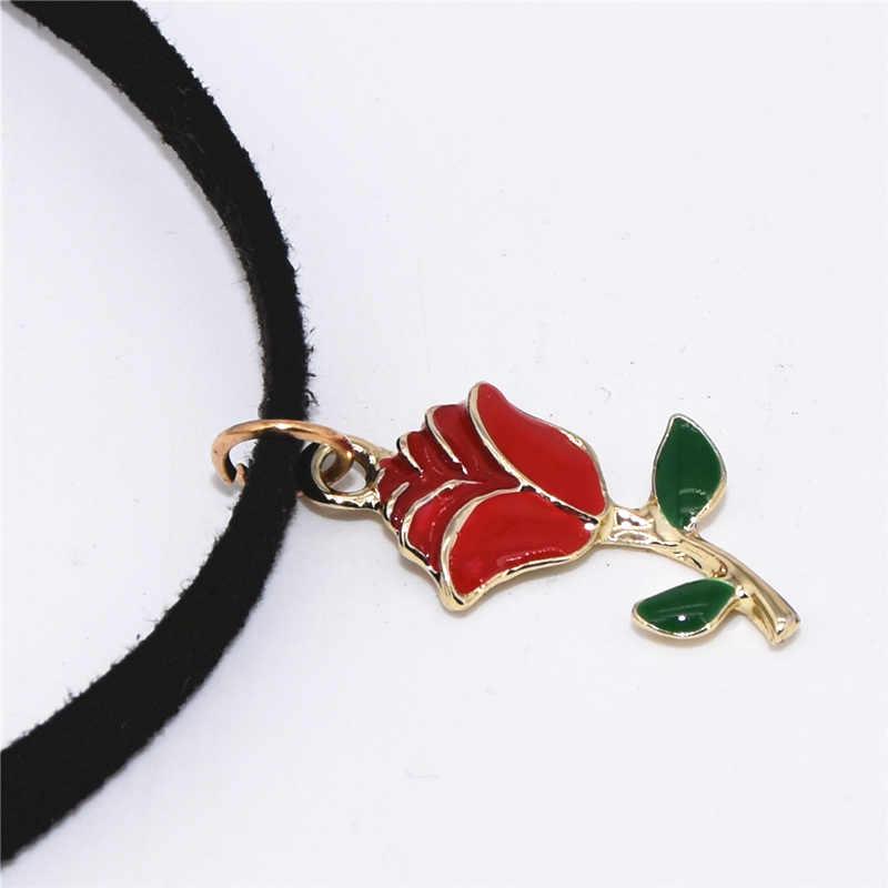 Heißer Verkauf Trendy Retro Rote Rose Silber Gold Farbe Anhänger Schwarz Samt Leder Halsband Halskette für Frauen Schmuck Collares Collier