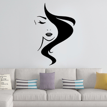 Classic Barber shop Woman Stickers For Haircut Room Wall Decoration Murals Decals Sticker Wallposter Decal