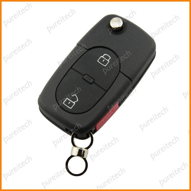 TYUI 5pieces/lot 2+panic Buttons Flip Remote Car Key Case For VW Key Fob Replacements CR2032 Battery Holder