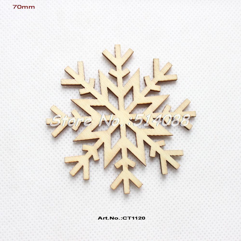 Snowflake christmas ornaments bulk -  40pcs Lot 70mm Unfinished Blank Wood Snowflakes Christmas Ornaments Natural Wooden Tags