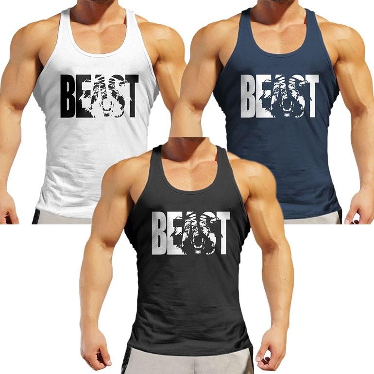100/% Beast Sleeveless Tanks Top Shirt Fit Men