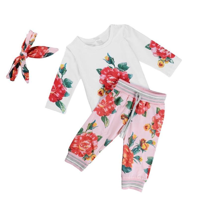 3pcs/set Kids Girls Clothes Set Newborn Baby Outfits Suit Summer Children Outfits Floral Print T-shirt Drawstring Pants Headband