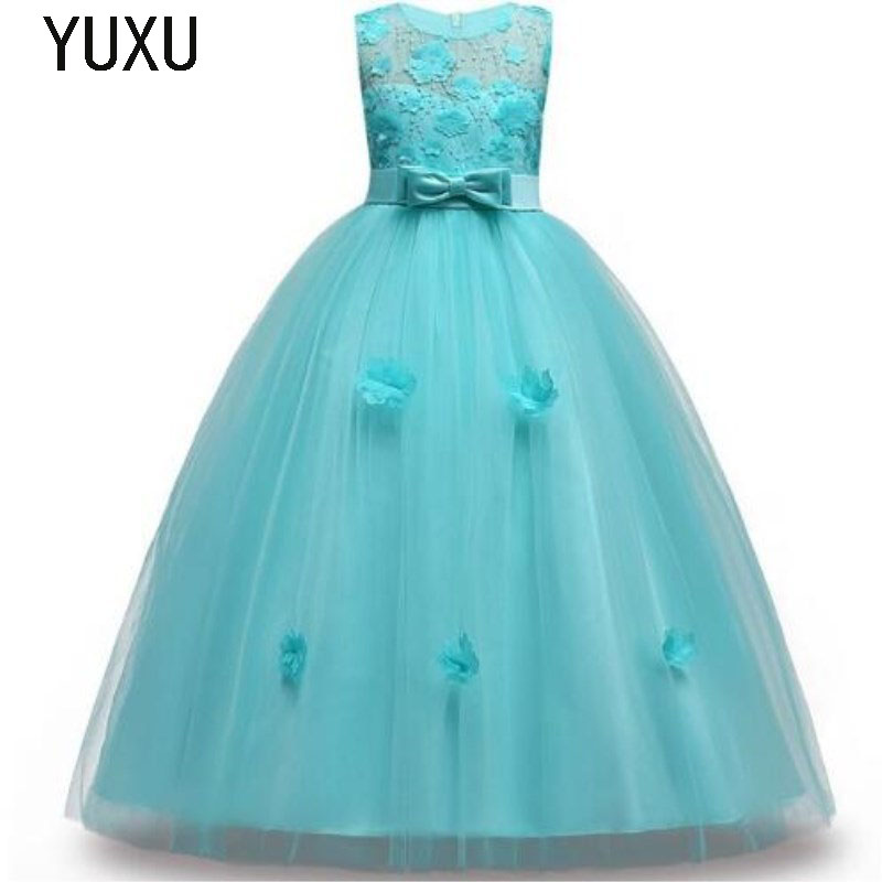 2018 Girls Sleeveless lace appliques Flower Girl Dress Christmas Tutu Flower Girl Dresses Princess Pageant Wedding Party Dress kid girl princess dress toddler sleeveless dress tutu lace flower bow dresses pageant dress clothes
