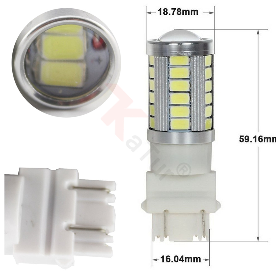 2Pc 3157 Red Led Lamps for Cars 3047 3057 3155 5630 33-SMD 900 Lumens Super Bright DC12V 3.6W LED Turn Brake Tail Bulbs by Katur