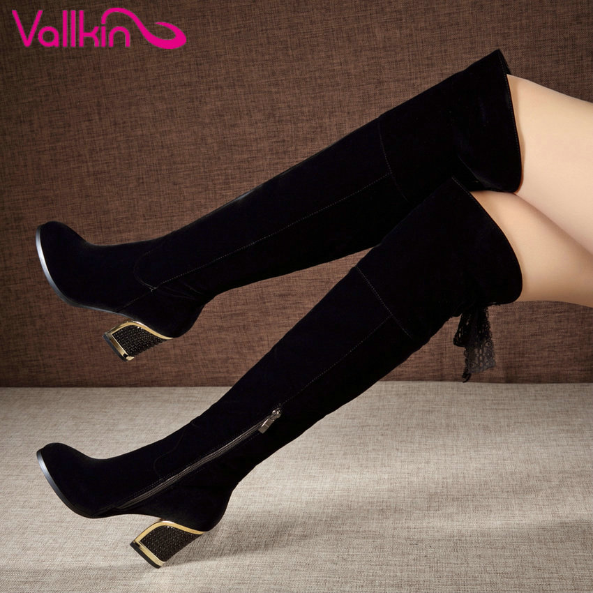 VALLKIN 2017 Women Boots Sexy Warm Zipper Fashion Winter Shoes Square High Heel Round Toe Lace Up Over The Knee Boots Size 34-40