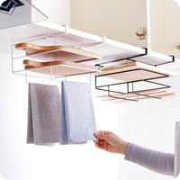 Iron cabinet Hanging Storage Shelf Rack Double Layer cutting board steel lids spoon shelf pan pot for Door Hook Holder
