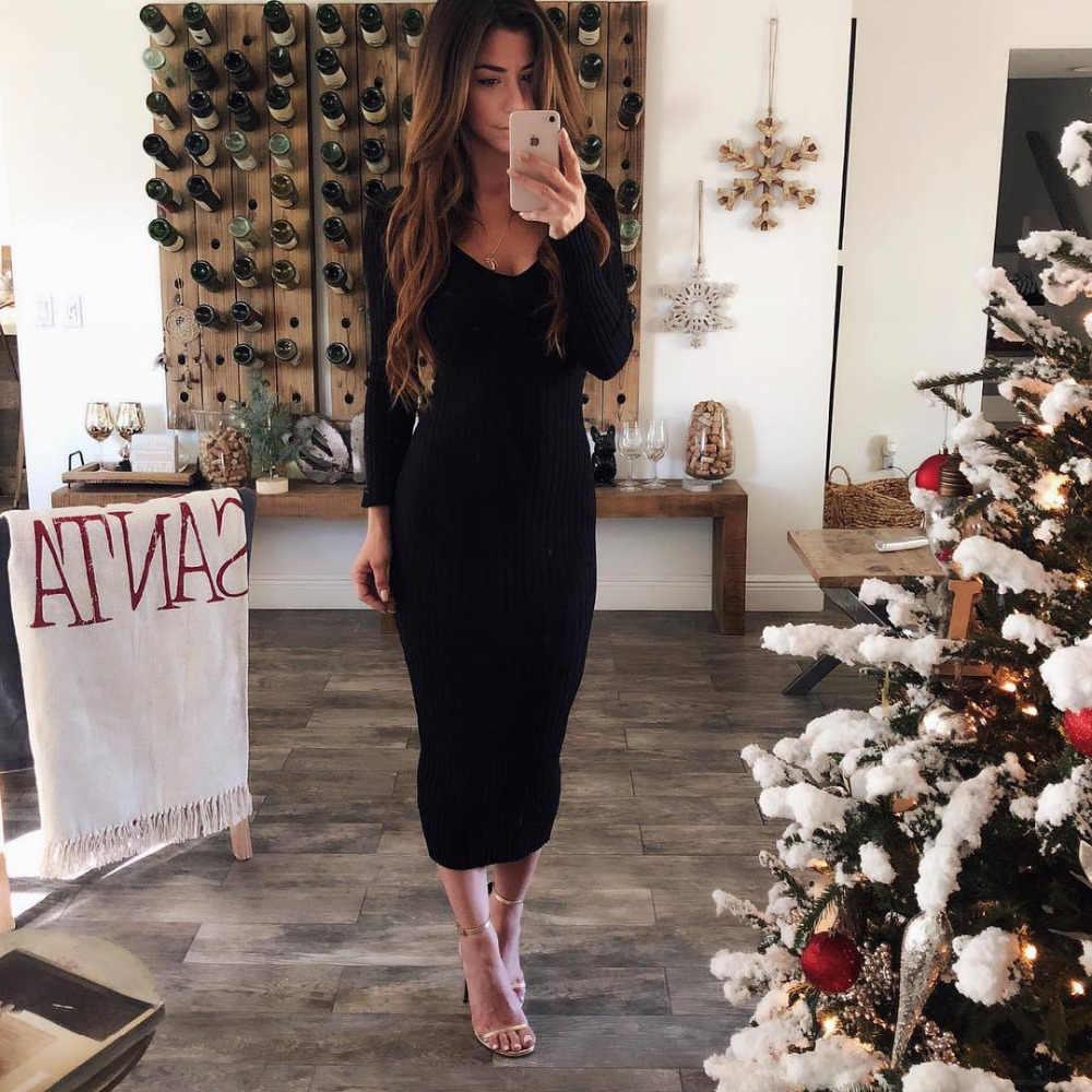 Осеннее трикотажное облегающее Макси-Платье, повседневное Сексуальное Женское Платье с v-образным вырезом и длинным рукавом, Элегантное зимнее облегающее Модное Длинное платье, тонкое платье 2019