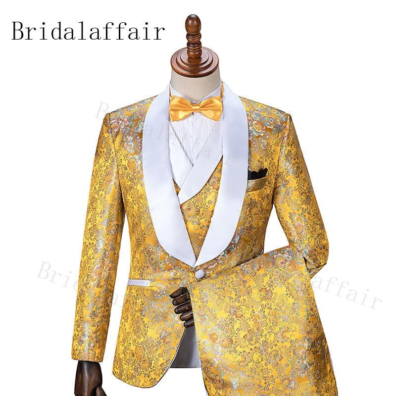 Bridalaffair Gold Suit Blazer-Sets Tuxedos Groom Slim-Fit Floral Wedding Best-Man 3piece
