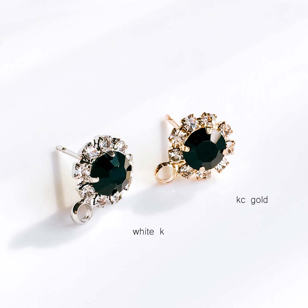 ZEROUP Rhinestone White K Gold Plated Stud Earrings 4 Colors Ear Accessories Jewelry Component Diy Material Handmade 6pcs 5