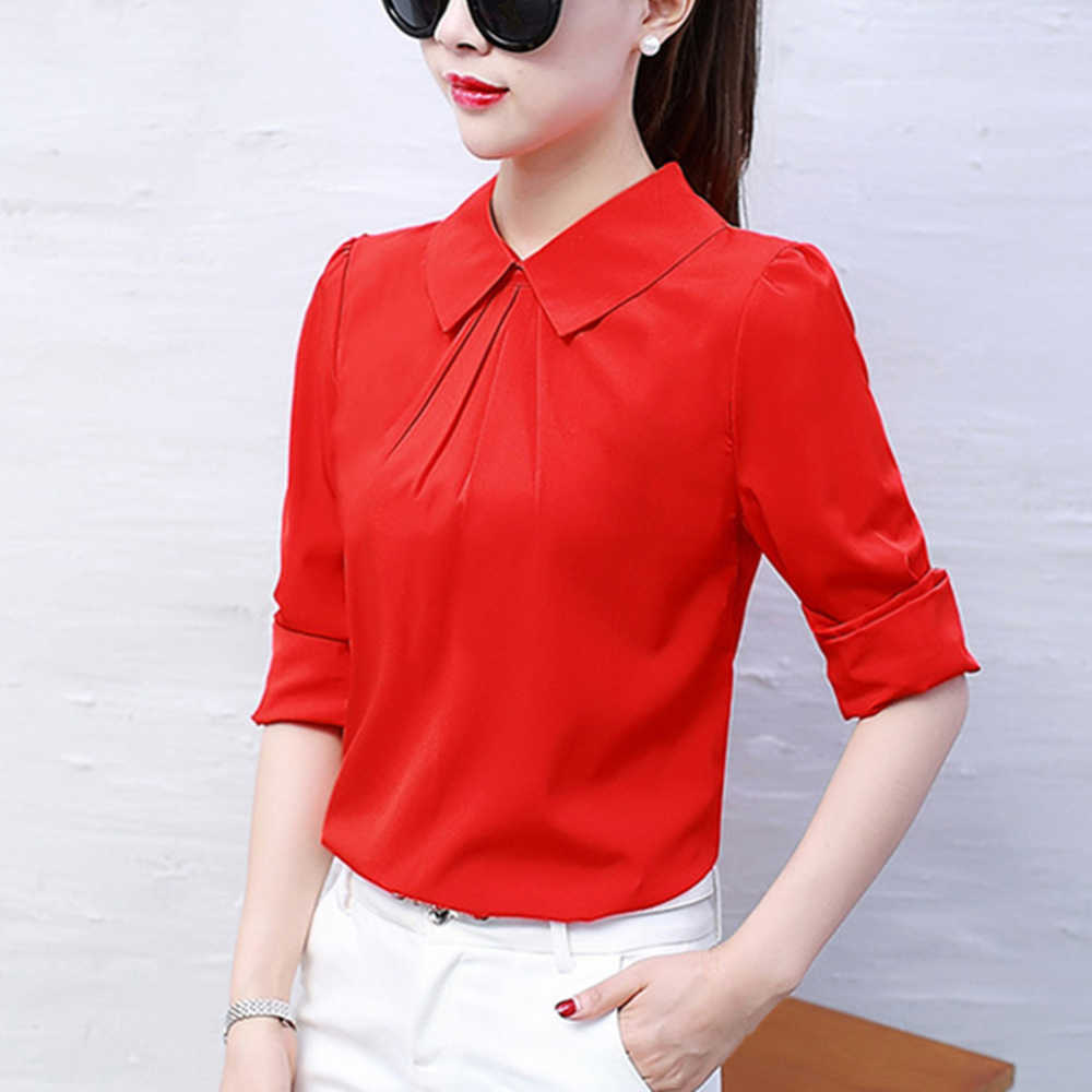 חדש נשים של צווארון עומד ארוך שרוול מזדמן משרד עבודת שיפון חולצות ארוך שרוולים קוריאני חולצות אופנה נקבה שיפון חולצה