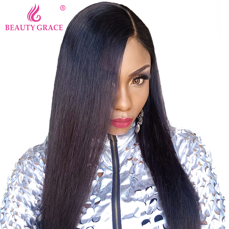 Beauty Grace 4x4 Closure Wig Brazilian Straight Hair Lace Frontal Wig Non Remy Lace Front Human