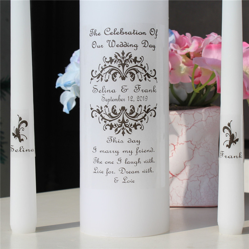 Wedding Gift Candles: Personalized Wedding Unity Candle Set Vinyl Decal Vintage