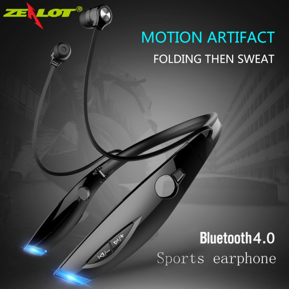 Original ZEALOT H1 Sweatproof Neckband Sport Stereo Bluetooth Earphone Wireless Headphone Running Headset With Microphone hbs 760 bluetooth 4 0 headset headphone wireless stereo hifi handsfree neckband sweatproof sport earphone earbuds for call music