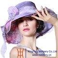 Organza de Moda de Verano Sombrero de Joven junio 100% Organza Colorido Sombrero de Ala Ancha Dom Sombrero de Playa Elegante Partido de La Señora los sombreros de ala
