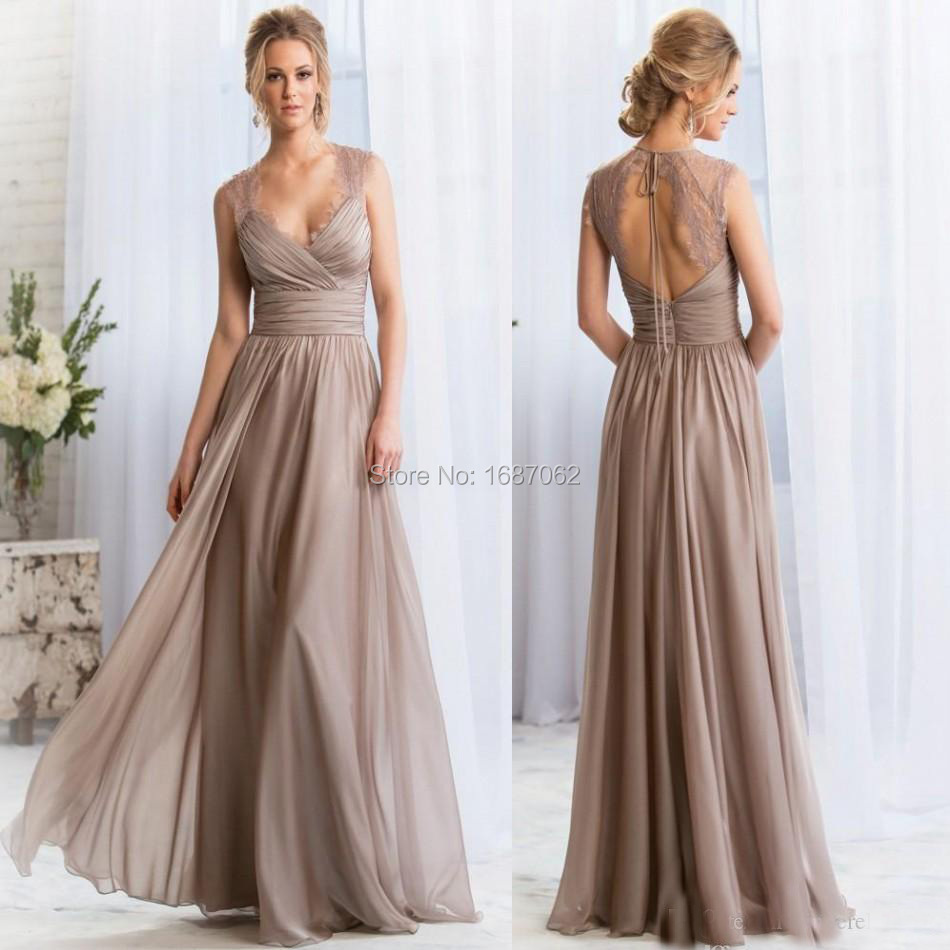 2017 V Neck Long Bridesmaid Dresses Lace Keyhole Back Prom Maid Of Honor Custom Formal Gown Robe De Soiree In From