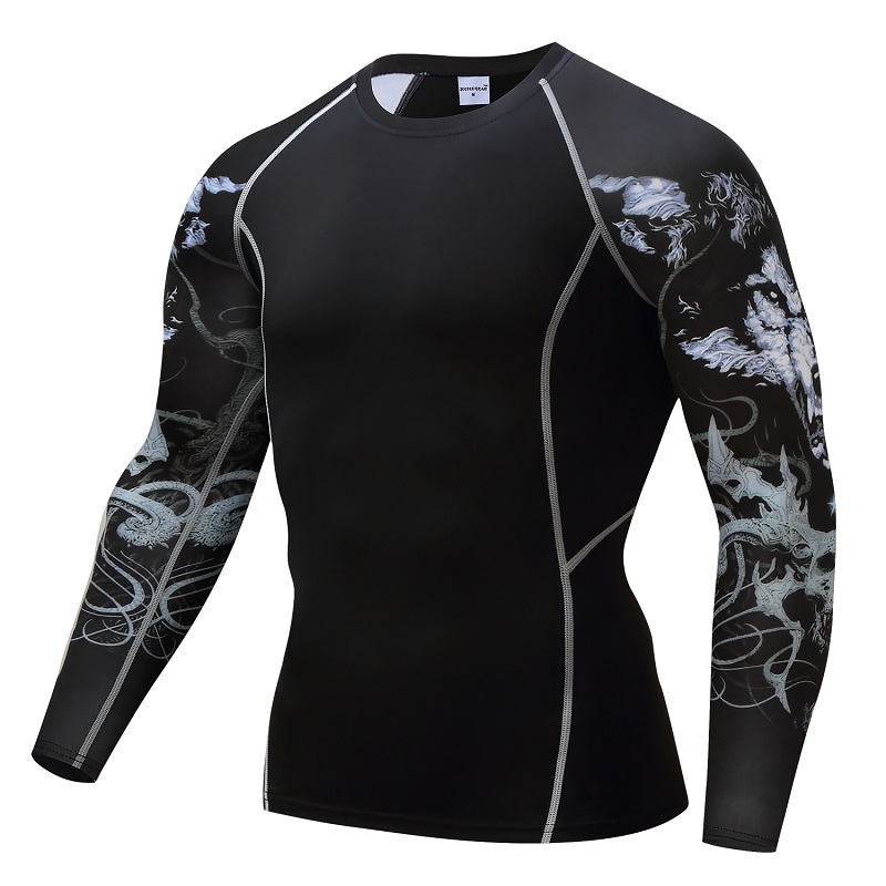 Bodybuilding T shirt Men Wolf Compression Shirt MMA Excercise Weight lifting Base Layer Fitness Tight Crossfit Top ZOOTOP BEAR