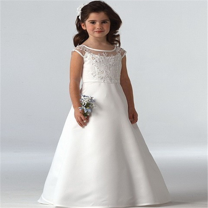 White   Flower     girl     Dresses   with Cap Sleeves Stain A Line Floor Length